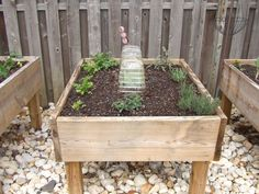 Raised garden bed on legs - intructables - 2 x 10 x 12 pressure treated wood (or something close to it depending on the depth needed) and 4x4 treated posts. Use a bit more under for support for the soil etc. 1/4 hardware mesh under the soil.