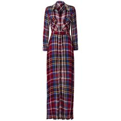 L'Agence Women's Cassie Plaid Maxi Shirtdress (590 CAD) ❤ liked on Polyvore featuring dresses, rayon maxi dress, t-shirt dresses, plaid dress, collar dress and purple shirt dress