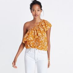 0609f7e1d65 Madewell Silk One-Shoulder Top in Assam Floral One Shoulder Tops