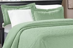 Ready for bedroom decoration inspiration... 3 Piece MIKANOS Ultrasonic Embossed Bedspread Set-Oversized Queen 100inx106in, King 118inx106in (Queen, Sage) - http://aluxurybed.com/product/3-piece-mikanos-ultrasonic-embossed-bedspread-set-oversized-queen-100inx106in-king-118inx106in-queen-sage/
