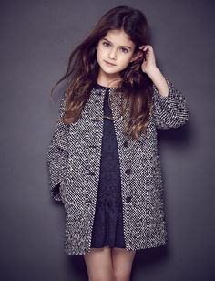 salt and pepper short coat over little black dress-tween fashion