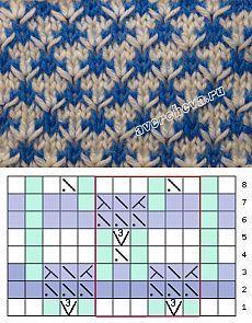 узор 344 многоцветные косы   каталог вязаных спицами узоров