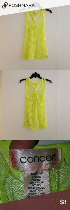 Top Sleeves bright yellow, sheer with flower pattern. No wholes, great for summer?????????? concert by claire Tops Tank Tops
