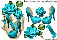 Pretty turq shoes with turq roses on a plaque on Craftsuprint designed by Nick Bowley - Pretty turq shoes with turq roses on a plaque, can be seen in other colours makes a pretty card - Now available for download!