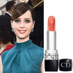 Found It! Felicity Jones's Gorgeous Coral Lip Dior Rouge Conttour Lipliner in Springf $30 Rouge Dior Lipstick in Plissé Soleil $35