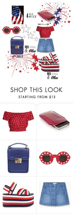 """RED, WHITE, & BLUE FASHION"" by mandimwpink ❤ liked on Polyvore featuring Miu Miu, Linda Farrow, Y.R.U., MANGO, redwhiteandblue and july4th"