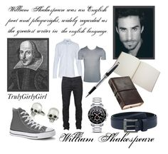 """""""William Shakespeare"""" by trulygirlygirl ❤ liked on Polyvore featuring mode, Converse, Gucci, G-Star Raw, Levi's, Poketo, Ugo Cacciatori, Mulberry, Movado et Montblanc"""