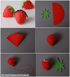 Erdbeeren aus Filz