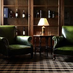 Whisky Room, Green Club Chairs