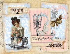 Sewing Vintage  digital collage sheet  set of 8  by bydigitalpaper