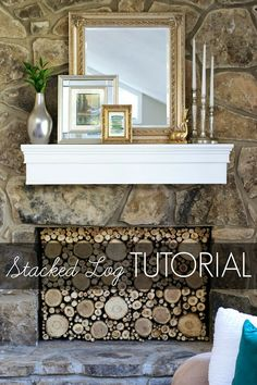 Faux Stacked Log Fireplace Tutorial! Amazing fireplace makeover for less than $100!