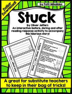 "This is an interactive reading response activity for Oliver Jeffers' hilarious story ""Stuck"". What a great mentor text this is to use for making predictions and talking about elements of stories (e.g. the problem in this story and the odd way that it's solved!)."