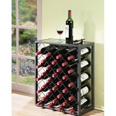 Metal-Wine-Rack-Bottle-Holder-Bar-Glass-Storage-Grey-Floor-Standing-Shelf-Table