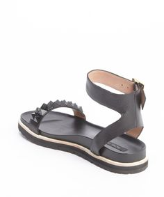 Rachel Zoe black leather 'Finley' studded flatbed sandals