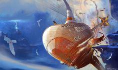 Concept spaceship stuff by Dreamworks Animation artist Roy Santua. Keywords: digital concept spaceship illustrations by veteran profe. Concept Ships, Concept Cars, Dreamworks, Steampunk Ship, Tech Art, Mechanical Design, Environment Concept Art, Visual Development, Dieselpunk