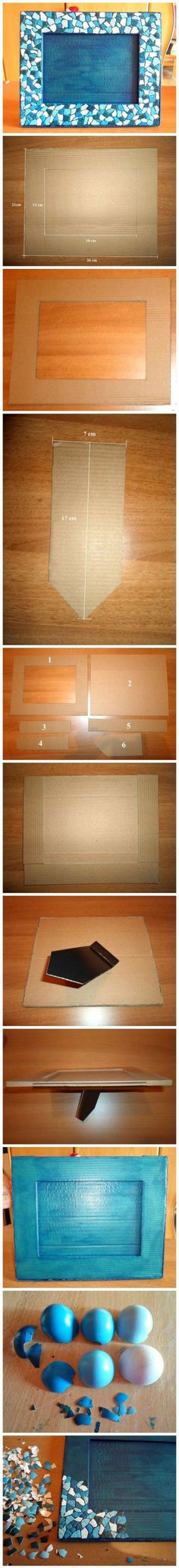 diy handmade painted egg shell mosiac picture frame