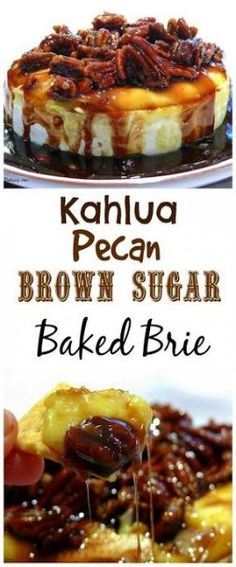 This Kahlua-Pecan-Brown Sugar Baked Brie is going to rock your next party gathering or celebration. The brie comes out of the oven gooey and oozing and awaiting its sweet and delicious topping. It is a must make any time of the year. Yummy Appetizers, Appetizers For Party, Appetizer Recipes, Dessert Recipes, Burger Recipes, Hawaiin Appetizers, Appetizers For Thanksgiving, Baked Brie Appetizer, Appetizer Ideas