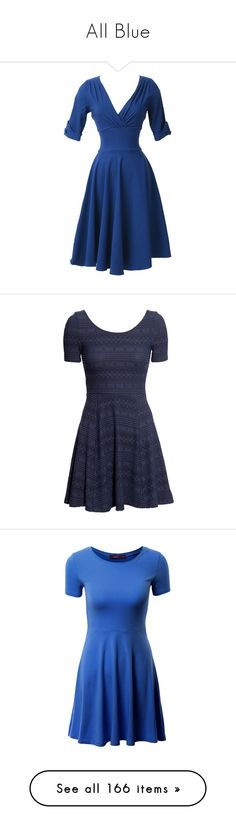 """""""All Blue"""" by anniebenny ❤ liked on Polyvore featuring dresses, short dresses, vintage swing dress, royal blue short dress, blue cocktail dress, retro swing dress, blue, blue dresses, dark blue and jersey dresses"""