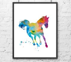 Art print - colorful horse watercolor painting - watercolor animal print painting on Etsy, $12.00