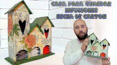 Recycle some cardboard to make this tea house. 56287665 Italian Home Decor. Cardboard Crafts, Wooden Crafts, Diy And Crafts, Paper Crafts, Tea Holder, Italian Home Decor, Pallet Wedding, Jr Art, Tea Box