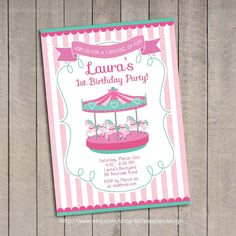 Carousel Birthday Invitation And Matching Party Package Pink And