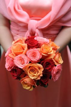 Pink, red and orange rose bouquet