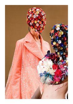 Gorgeous floral masks adorned models at the Maison Martin Margiela Artisanal Fall/Winter 2013 presentation.