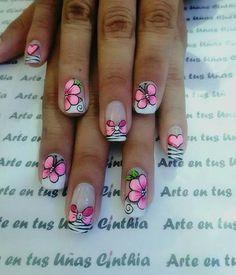 Flower Nail Designs, Nail Art Designs, Cute Nail Art, Cute Nails, Solar Nails, Nail Jewelry, Butterfly Nail, Acrylic Nail Art, Opi Nails