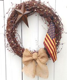 Red, White and Blue Wreath- Rustic wreath- Primitive Wreath- Country Wreath- Americana Wreath- Shabby Chic- Hand Crafted Wreath. $49.00, via Etsy.