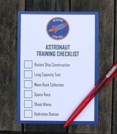 Astronaut Training Checklist - Space party - Science party - Astronaut party - Hand this out at the beginning of the party- your astronauts can check off each activity once completed. Outer Space Facts, Outer Space Theme, Diy Party Packs, Nasa Party, Party Banner, Space Party, Party Activities, Camping Activities, Space Activities