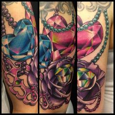 Tattoo by Mark Stewart of Four Aces Tattoo in Aldinga Beach, South Australia. Heart diamonds, knuckle duster, rose with diamond in the middle and beads done in a new school style as part of a girly themed sleeve. Thanks for looking. Instagram: @markstew_art