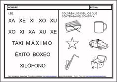 MATERIALES - Fichas de lectoescritura - X.    Fichas para el aprendizaje de la lectoescritura en letra mayúscula.    http://arasaac.org/materiales.php?id_material=983