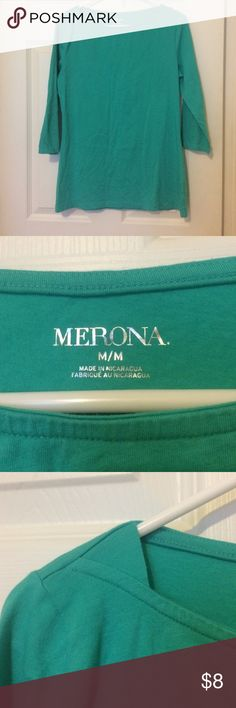 Merona teal 3/4 sleeve top Size medium, hardly worn. Beautiful color! Stretchy material is super comfortable! Boatneck style. Tops Tees - Long Sleeve