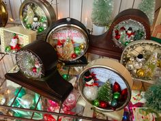 Vintage Christmas Shadow Boxes Made from Old Clocks