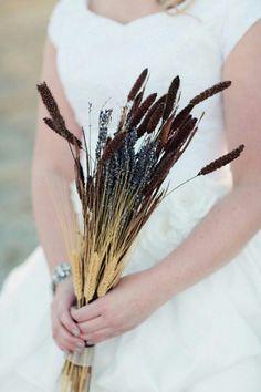 Blackbeard Wheat, Golden Wheat & Lavender Bridal Bouquet^^^^