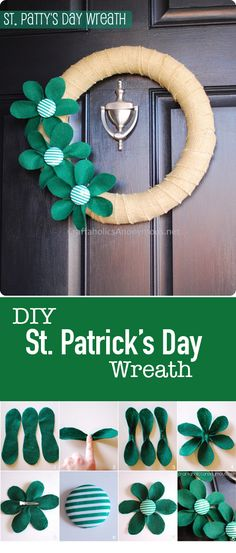 DIY St. Patricks Day Wreath with interchangeable flowers. || All you have to do is unclip the flowers and clip new ones one. Cool idea!