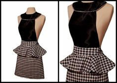 love the collar Sewing Hacks, Sewing Projects, Cool Aprons, Fibre And Fabric, Sewing Aprons, Houndstooth, Passion For Fashion, Apron Diy, Peplum Dress