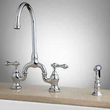 Ponticello Bridge Kitchen Faucet with Hand Spray - Lever Handles - Chrome