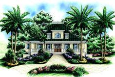 Beach Style House Plan - 5 Beds 4.5 Baths 4109 Sq/Ft Plan #27-413 Exterior - Front Elevation - Houseplans.com
