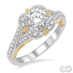 3/4 Ctw Diamond Engagement Ring with 1/2 Ct Round Cut Center Stone in 14K White and Yellow Gold