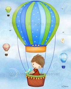 Boys room art poster Hot air balloon children decor by jolinne
