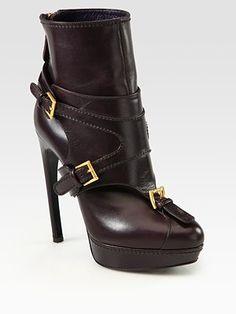 Alexander McQueen Leather Horn-Heel Buckle Ankle Boots
