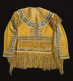 FINE WESTERN APACHE BEADED AND FRINGED TAILORED HIDE SHIRT