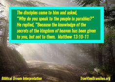 """The disciples came to him (Jesus) and asked """"Why do you speak to the people in parables?"""" He replied, """"Because the knowledge of the secrets of the kingdom of heaven has been given to you, but not to them. Matthew 13:10-11. God desires to speak to us through the day and night, revealing the kingdom of God to us! For more info, please visit www.TrueVineBranches.org, or www.facebook.com/TrueVineBranchesMinistries/"""