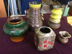 5 DDR Strehla Blumenvasen LAVA Art ua. grün gelb rot braun verschiedene Formen | eBay