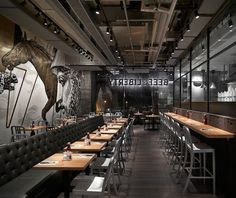 design studio spinoff has completed the interiors for 'beef & liberty', a gourmet burger restaurant in hong kong that caters to diverse range of diners. Burger Restaurant, Asia Restaurant, Rustic Restaurant, Concept Restaurant, Restaurant Lighting, Bar Interior, Restaurant Interior Design, Cafe Bar, Burger Laden