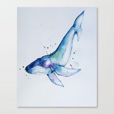 Blue whale / Watercolor Canvas Print
