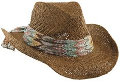 Women's straw cowboy hat with fashion band by Dorfman PacificFashion band made of popular flame stitch fabric with dark wood O ring closure at backThick, elasticized sweat band keeps you dry on hot summer daysWire rimmed brim is shapeable to your desired styleMade of 100% toyo strawOne size fits most up to You can rock your country style but still maintain your girly flare with this feminine and flattering cowboy hat in fashion forward colors. Adjust the wired brim depending on your
