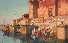 Yoshida Hiroshi - Ghat in Varanasi - 1931