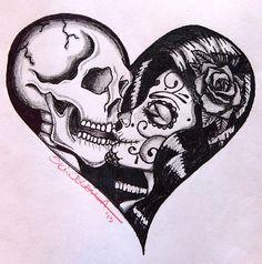 Heart Kiss by Skinderella Sugar Skull Skeleton Lovers Canvas Art Print – moodswingsonthenet Nape Tattoo, Hawaiianisches Tattoo, Tattoo Son, Tattoo Hals, Body Art Tattoos, Tattoo Music, Forearm Tattoos, Maori Tattoos, Tatoos